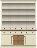 Doors & Drawers with Wicker Basket Base Cupboards